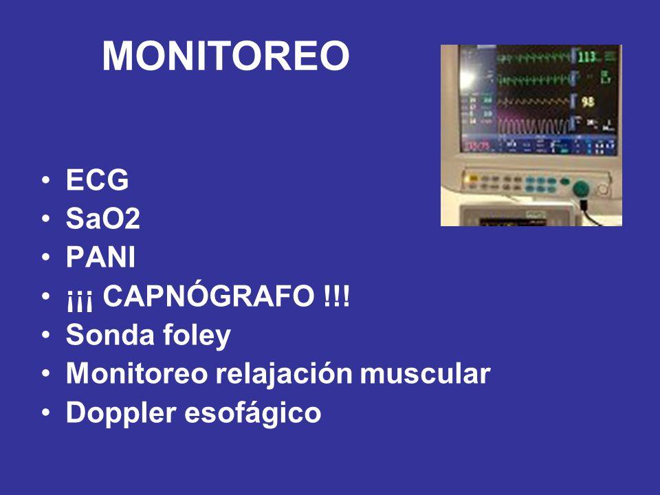 MONITOREO ECG SaO2 PANI ¡¡¡ CAPNÓGRAFO !!! Sonda foley
