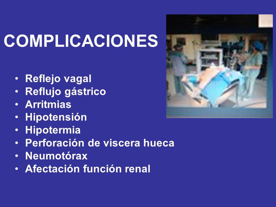 COMPLICACIONES Reflejo vagal Reflujo gástrico Arritmias Hipotensión