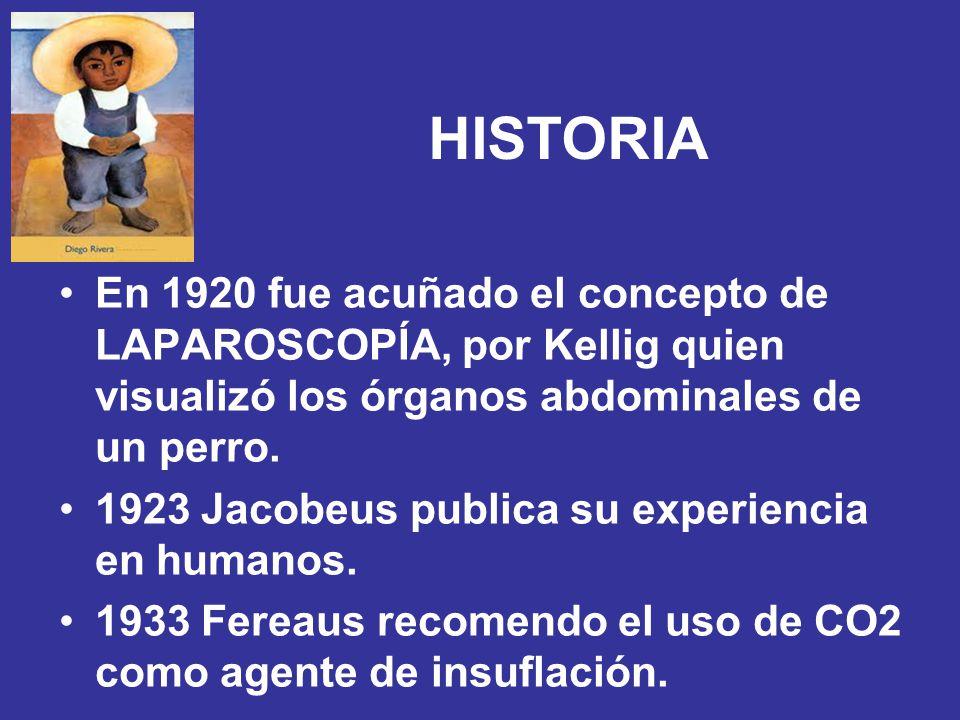 HISTORIA En 1920 fue acuñado el concepto de LAPAROSCOPÍA, por Kellig quien visualizó los órganos abdominales de un perro.