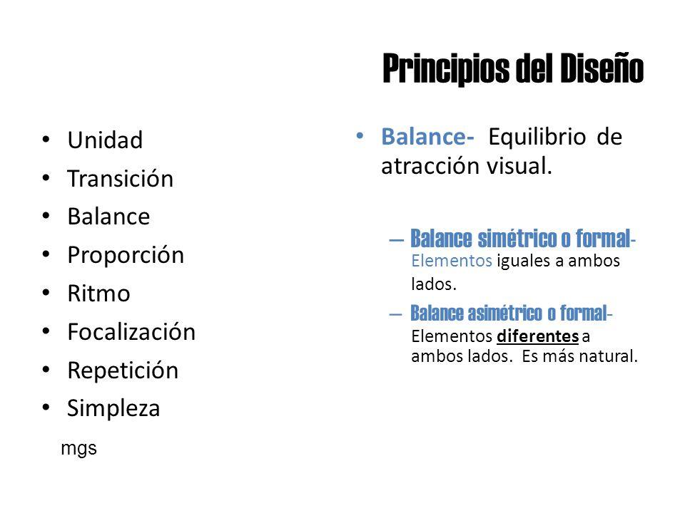 Principios del Diseño Unidad Transición Balance Proporción Ritmo