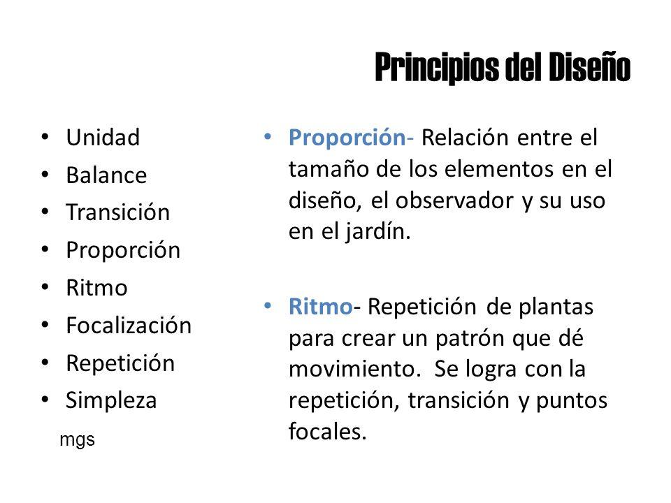 Principios del Diseño Unidad Balance Transición Proporción Ritmo