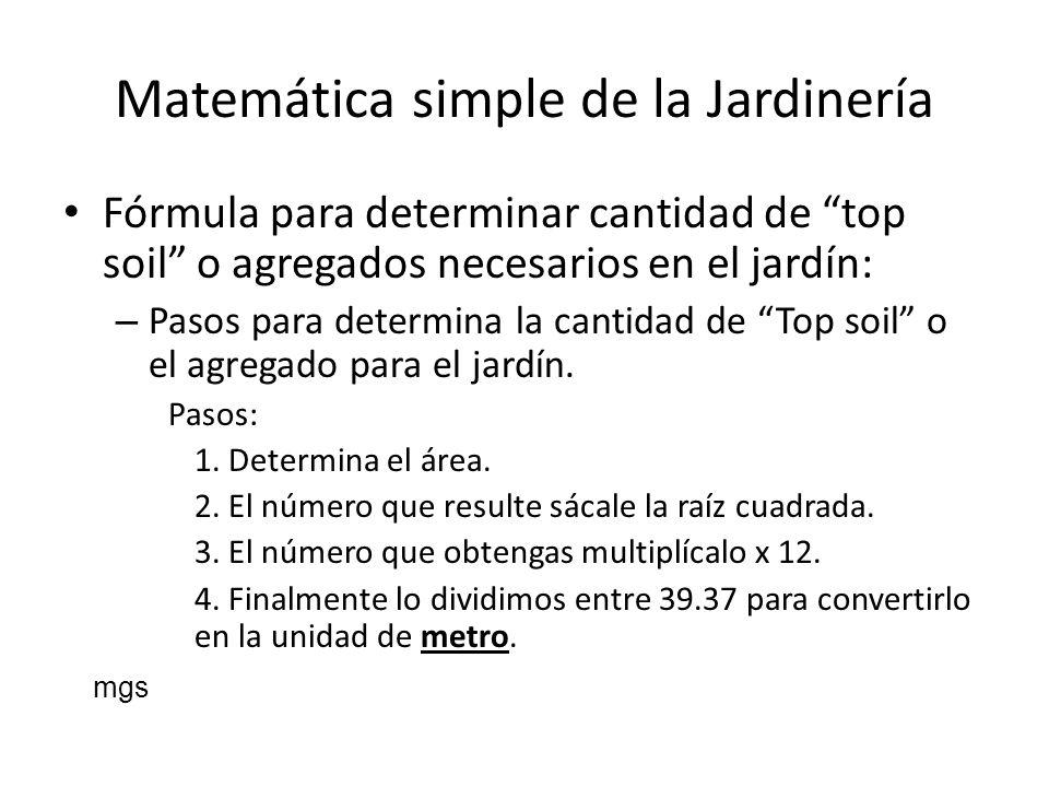 Matemática simple de la Jardinería