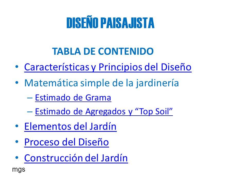 DISEÑO PAISAJISTA TABLA DE CONTENIDO