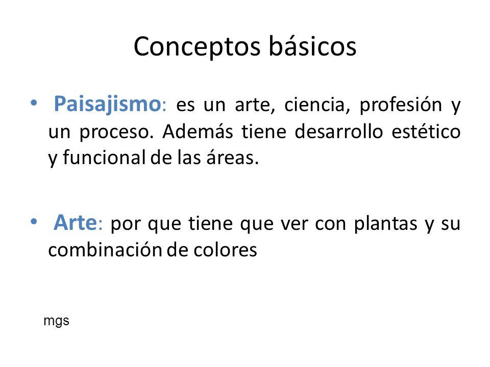 Conceptos básicosPaisajismo: es un arte, ciencia, profesión y un proceso. Además tiene desarrollo estético y funcional de las áreas.