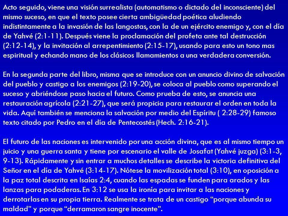 Acto seguido, viene una visión surrealista (automatismo o dictado del inconsciente) del mismo suceso, en que el texto posee cierta ambigüedad poética aludiendo indistintamente a la invasión de las langostas, con la de un ejército enemigo y, con el día de Yahvé (2:1-11). Después viene la proclamación del profeta ante tal destrucción (2:12-14), y la invitación al arrepentimiento (2:15-17), usando para esto un tono mas espiritual y echando mano de los clásicos llamamientos a una verdadera conversión.
