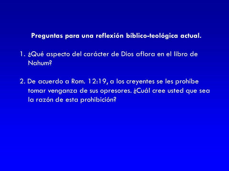Preguntas para una reflexión bíblico-teológica actual.