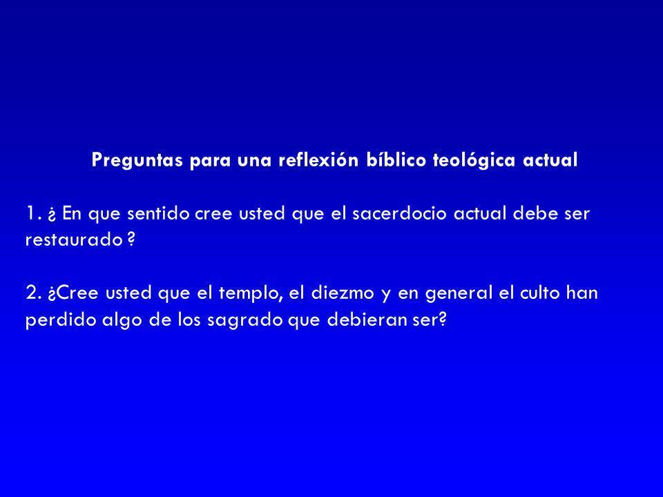 Preguntas para una reflexión bíblico teológica actual