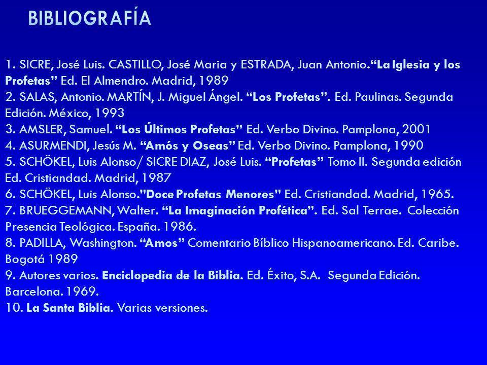BIBLIOGRAFÍA 1. SICRE, José Luis. CASTILLO, José Maria y ESTRADA, Juan Antonio. La Iglesia y los Profetas Ed. El Almendro. Madrid, 1989.
