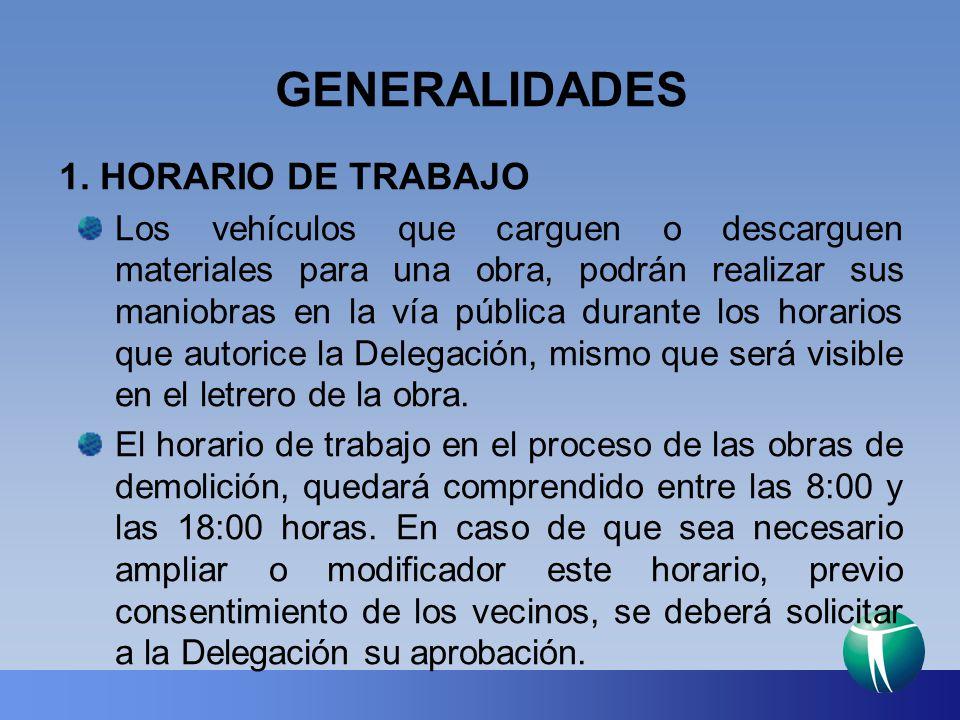 GENERALIDADES 1. HORARIO DE TRABAJO