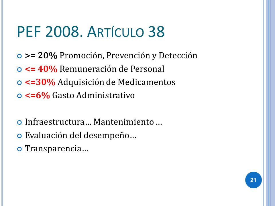 PEF 2008. Artículo 38 >= 20% Promoción, Prevención y Detección