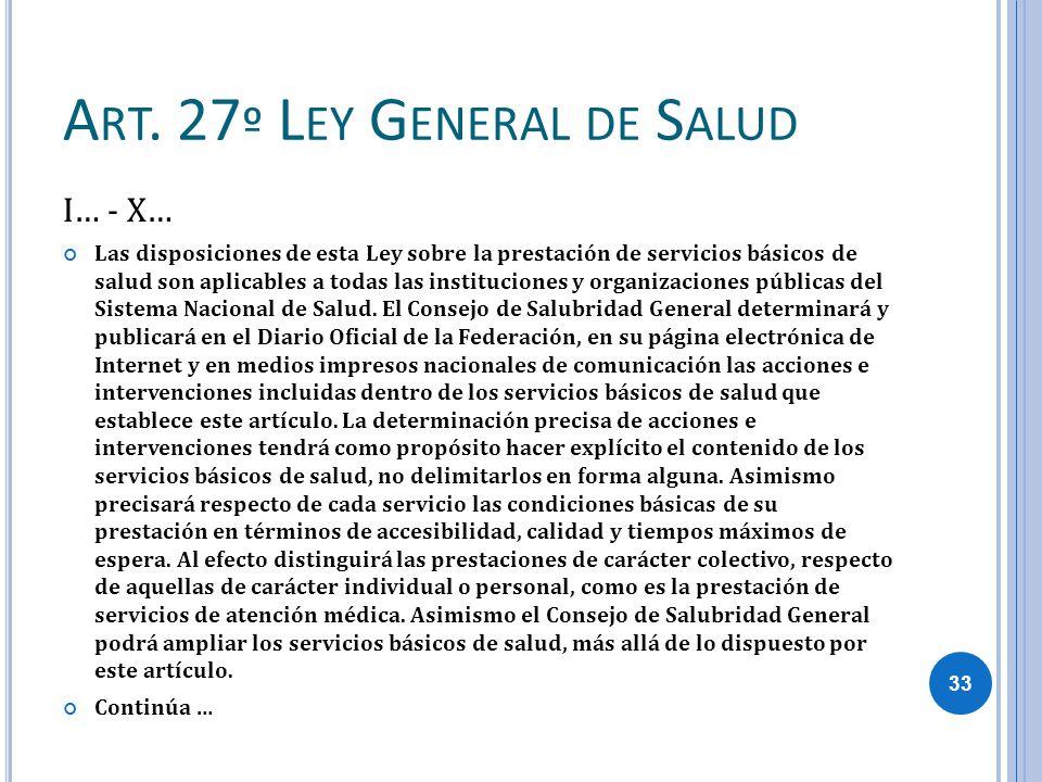 Art. 27º Ley General de Salud