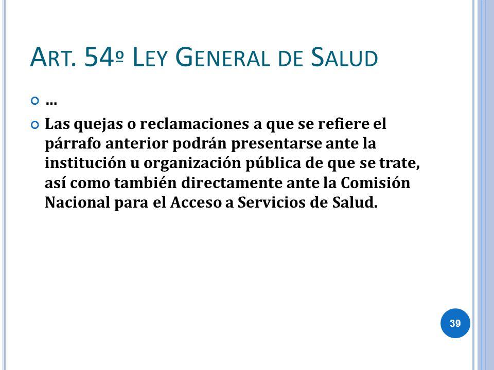 Art. 54º Ley General de Salud