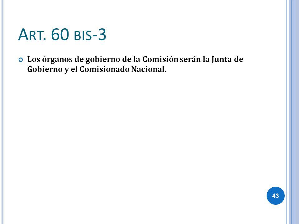 Art. 60 bis-3 Los órganos de gobierno de la Comisión serán la Junta de Gobierno y el Comisionado Nacional.