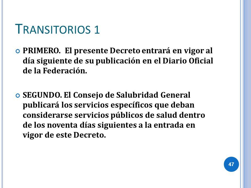 Transitorios 1 PRIMERO. El presente Decreto entrará en vigor al día siguiente de su publicación en el Diario Oficial de la Federación.