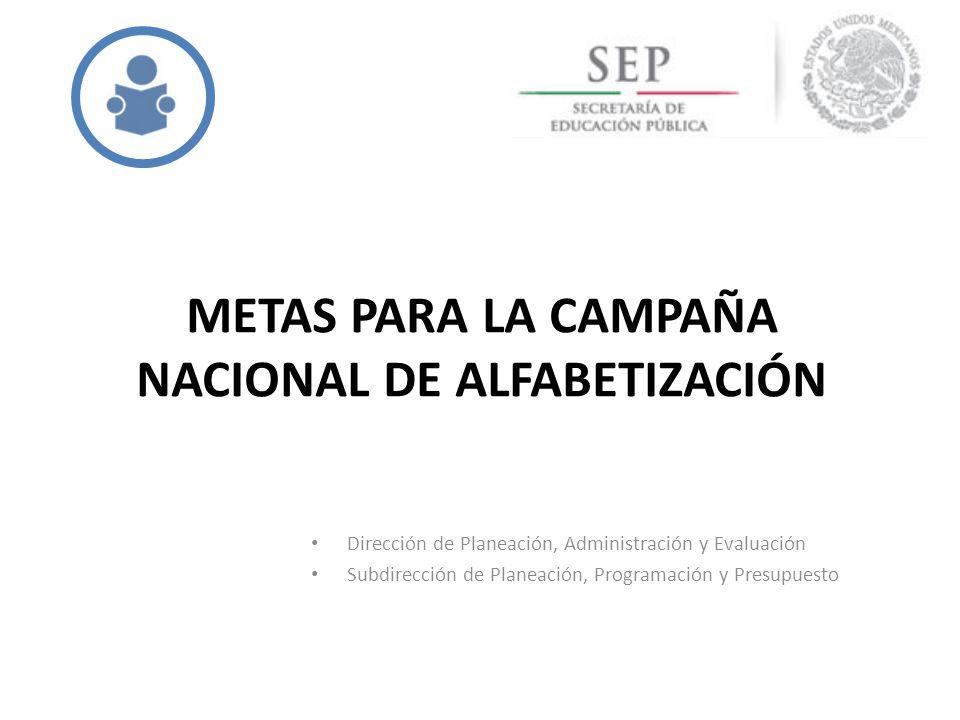 METAS PARA LA CAMPAÑA NACIONAL DE ALFABETIZACIÓN