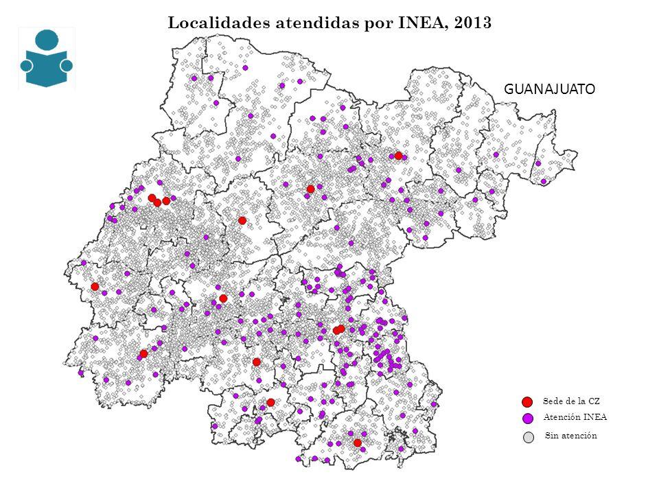 Localidades atendidas por INEA, 2013