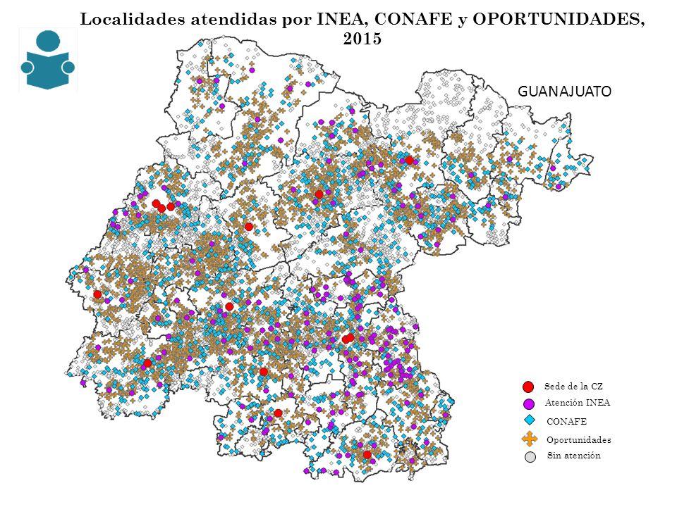 Localidades atendidas por INEA, CONAFE y OPORTUNIDADES, 2015