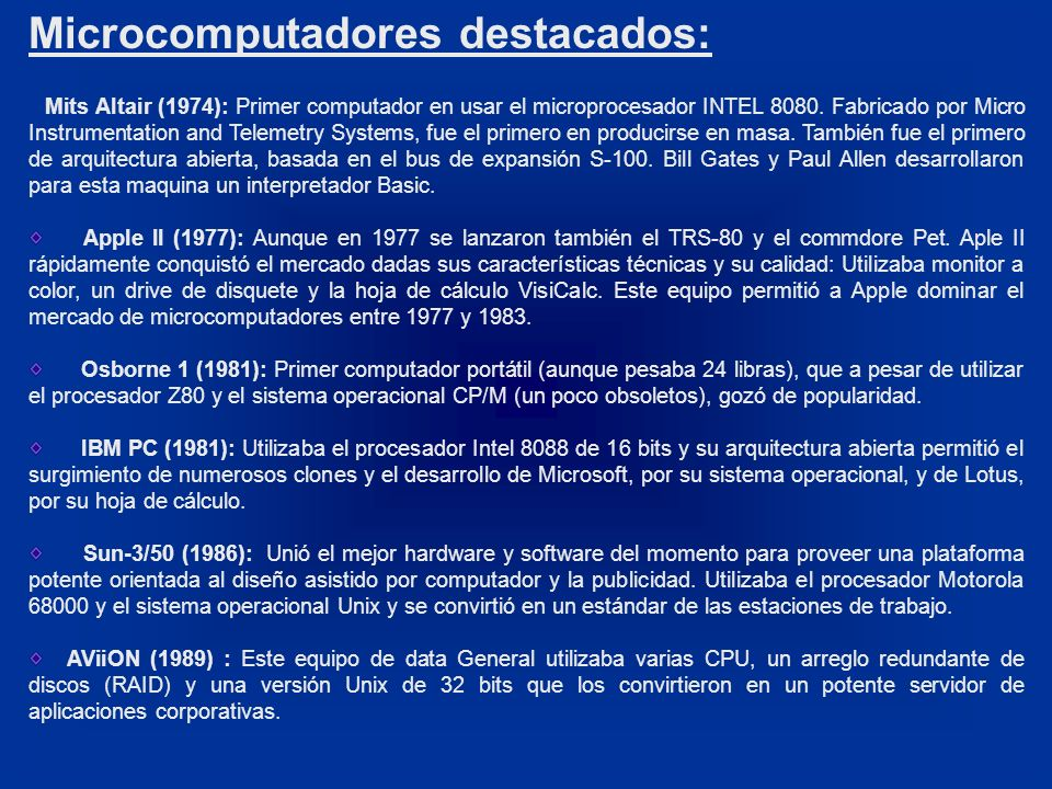 Microcomputadores destacados: