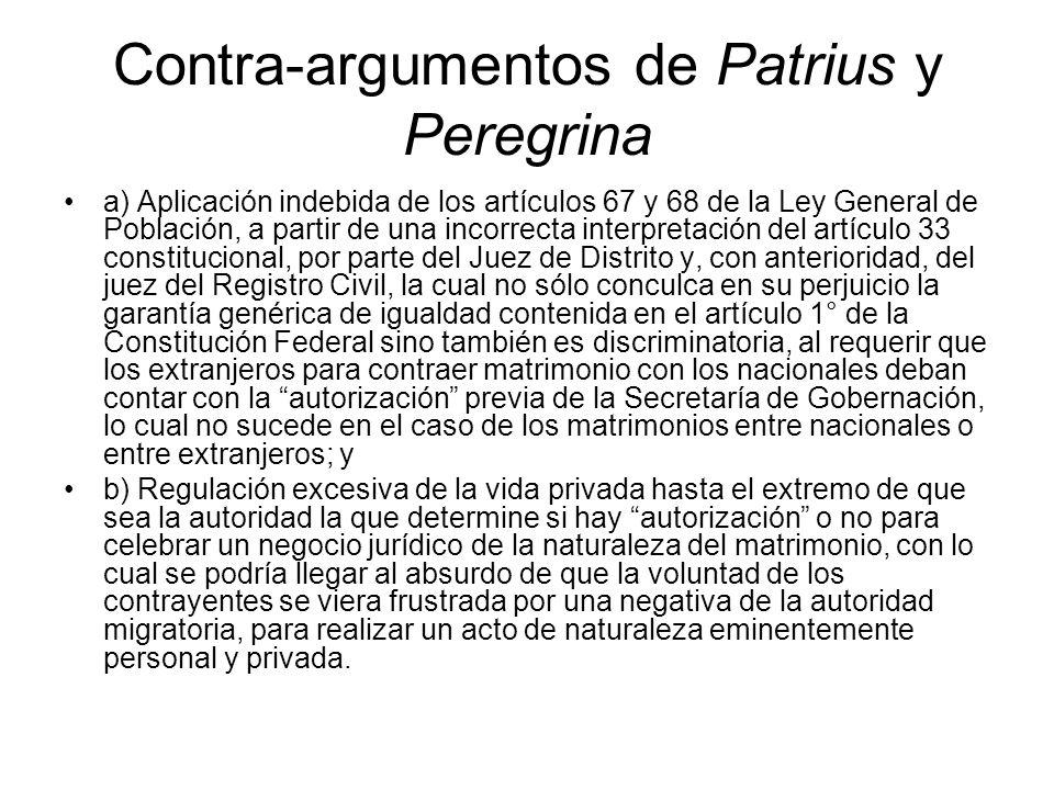 Contra-argumentos de Patrius y Peregrina