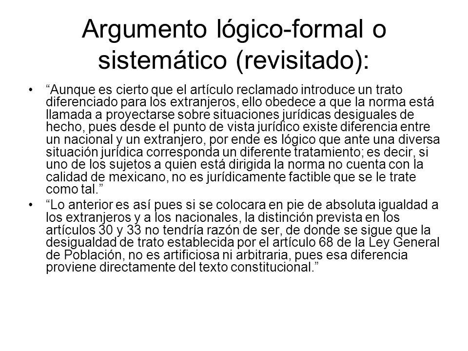 Argumento lógico-formal o sistemático (revisitado):