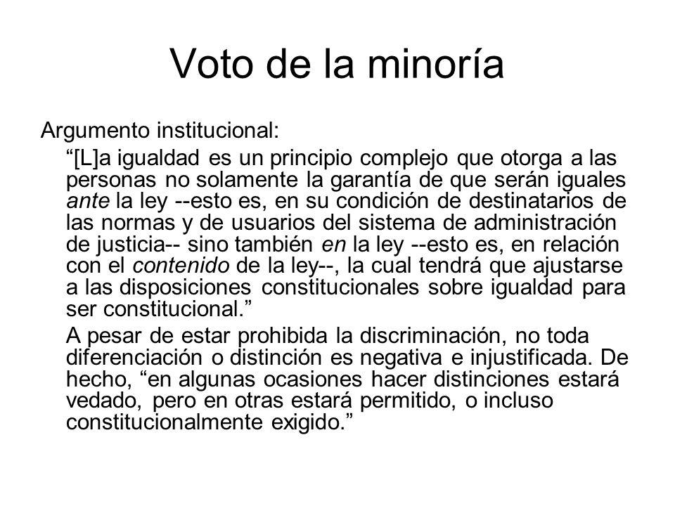 Voto de la minoría Argumento institucional:
