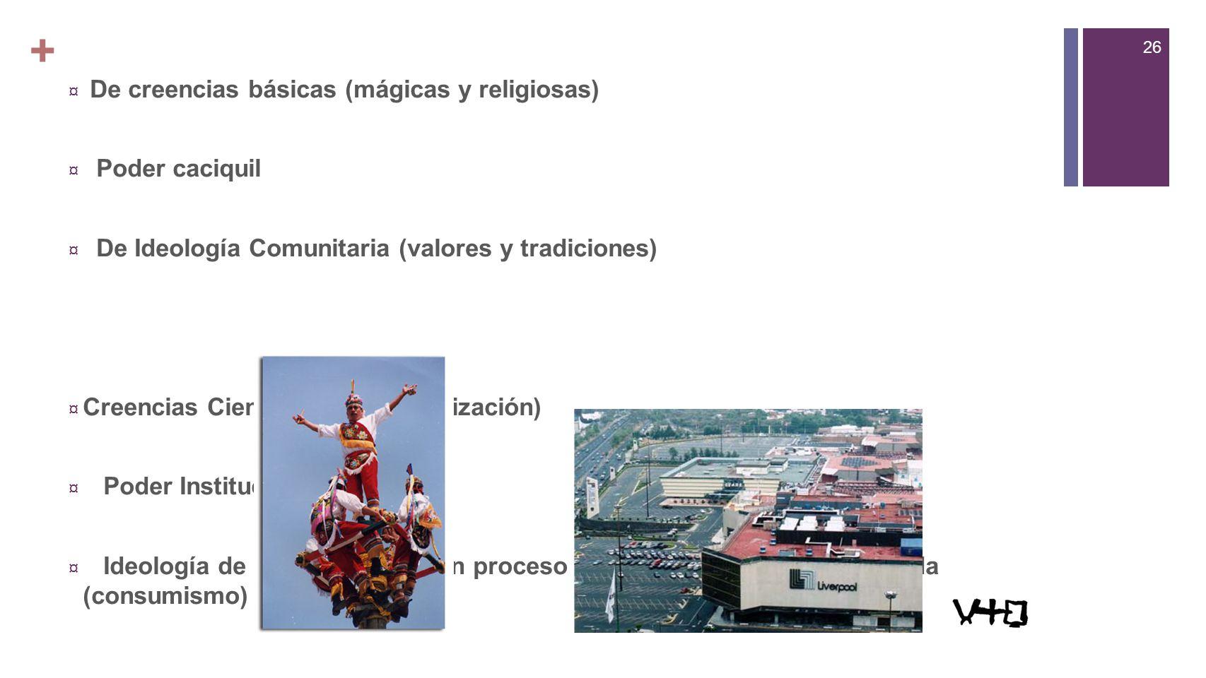 + De creencias básicas (mágicas y religiosas) Poder caciquil