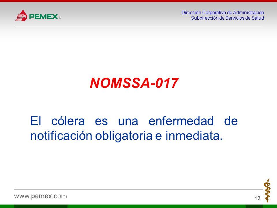 NOMSSA-017 El cólera es una enfermedad de notificación obligatoria e inmediata.