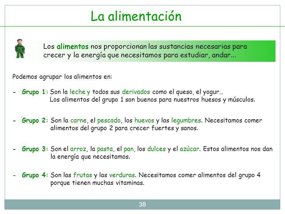 La alimentación Los alimentos nos proporcionan las sustancias necesarias para crecer y la energía que necesitamos para estudiar, andar...