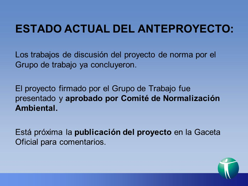 ESTADO ACTUAL DEL ANTEPROYECTO: