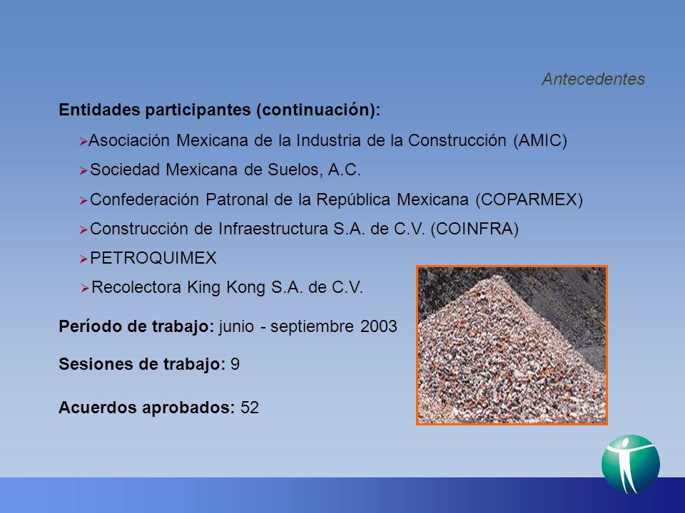 Antecedentes Entidades participantes (continuación): Asociación Mexicana de la Industria de la Construcción (AMIC)