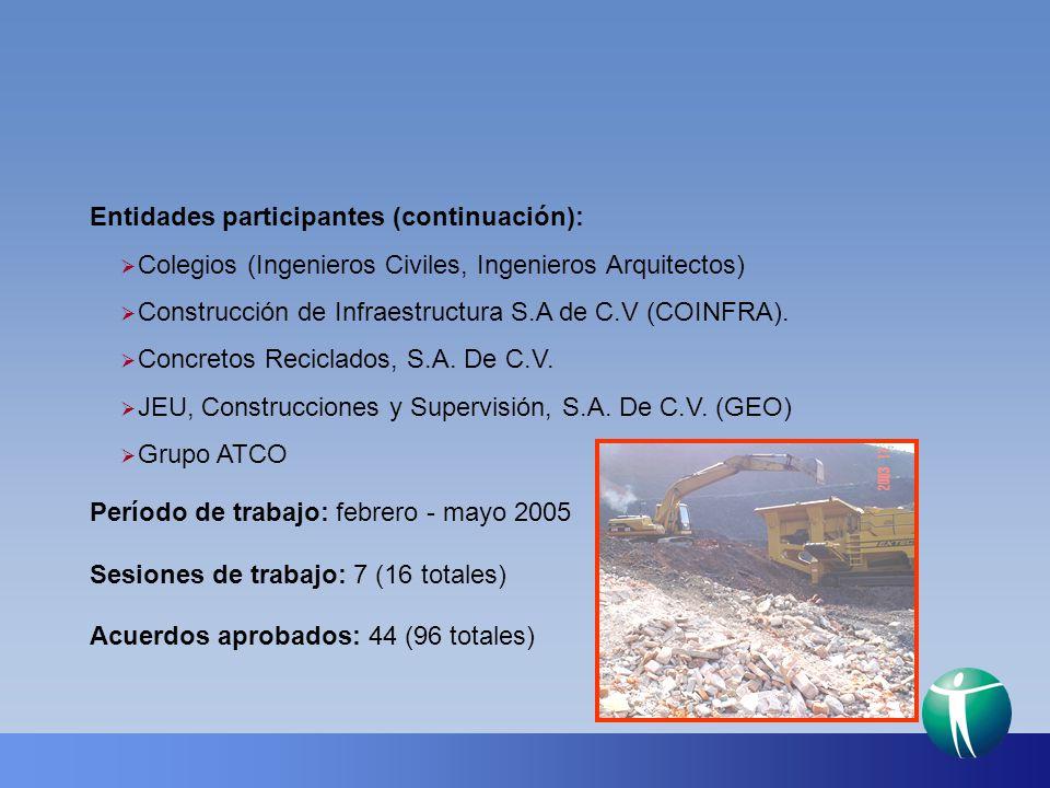 Entidades participantes (continuación):