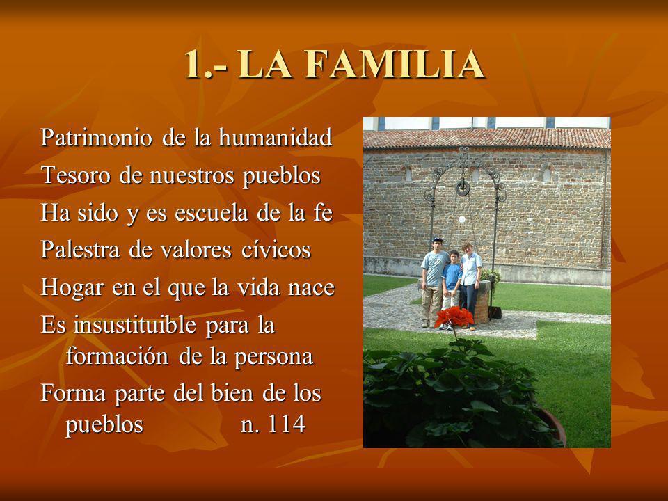 1.- LA FAMILIA Patrimonio de la humanidad Tesoro de nuestros pueblos