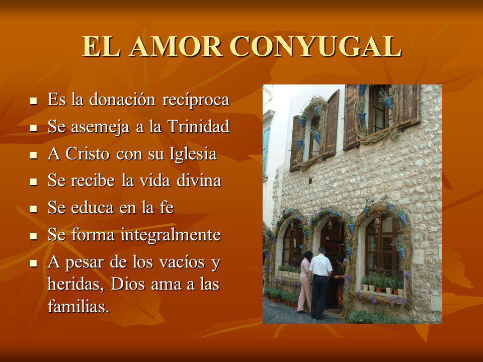 EL AMOR CONYUGAL Es la donación recíproca Se asemeja a la Trinidad