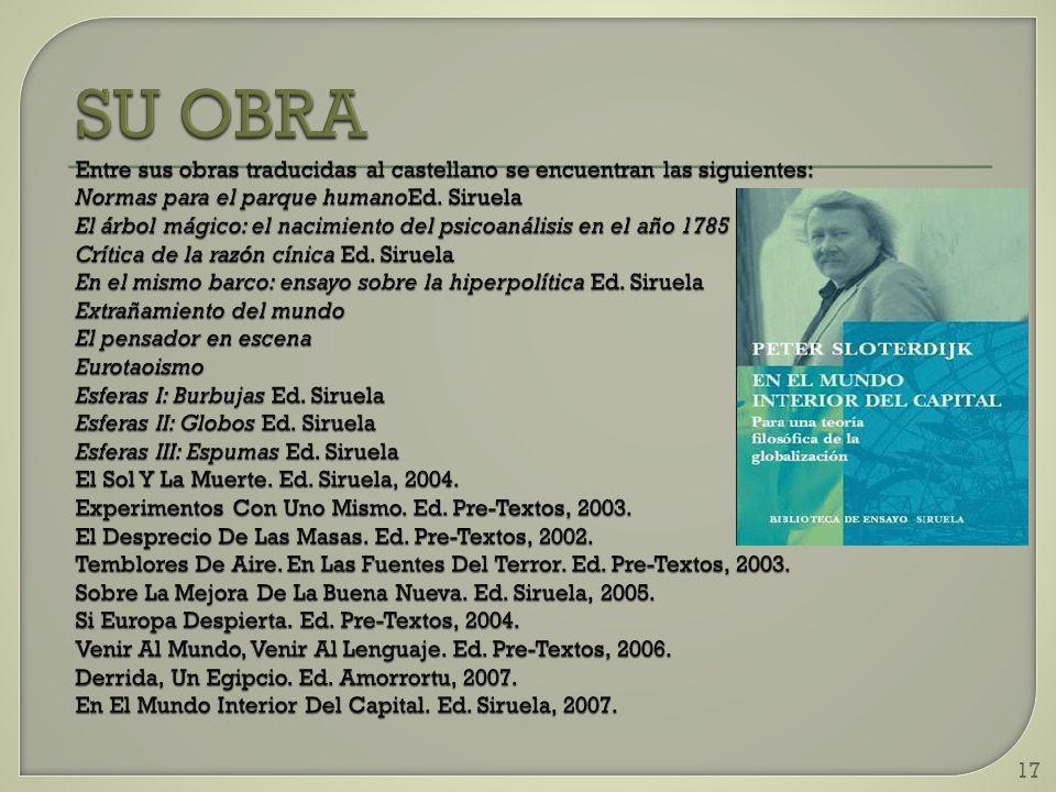 SU OBRA Entre sus obras traducidas al castellano se encuentran las siguientes: Normas para el parque humanoEd.