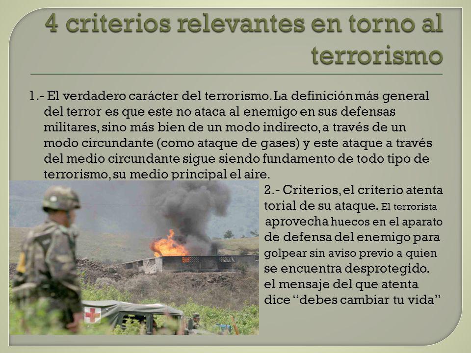 4 criterios relevantes en torno al terrorismo