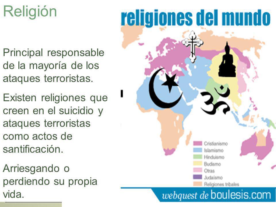 Religión Principal responsable de la mayoría de los ataques terroristas.