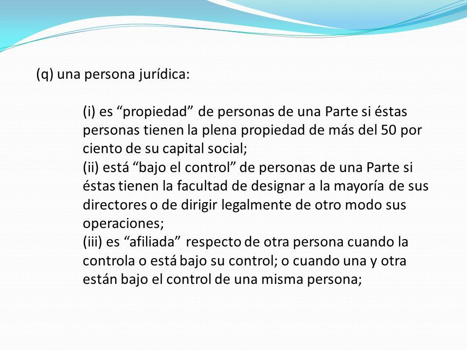 (q) una persona jurídica: