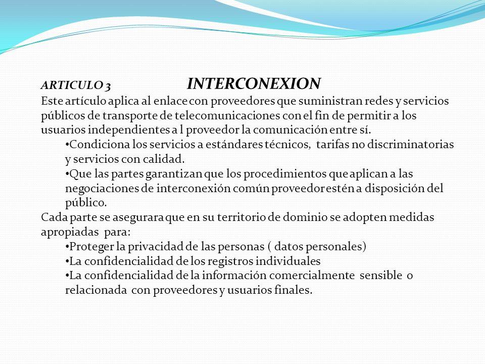 ARTICULO 3 INTERCONEXION