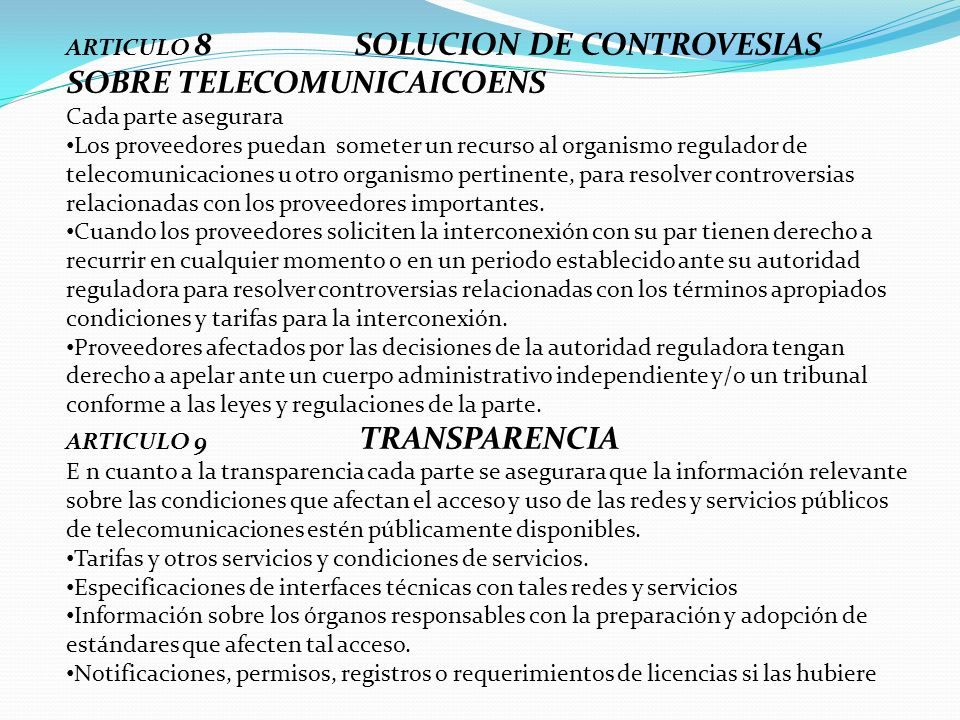 ARTICULO 8 SOLUCION DE CONTROVESIAS SOBRE TELECOMUNICAICOENS