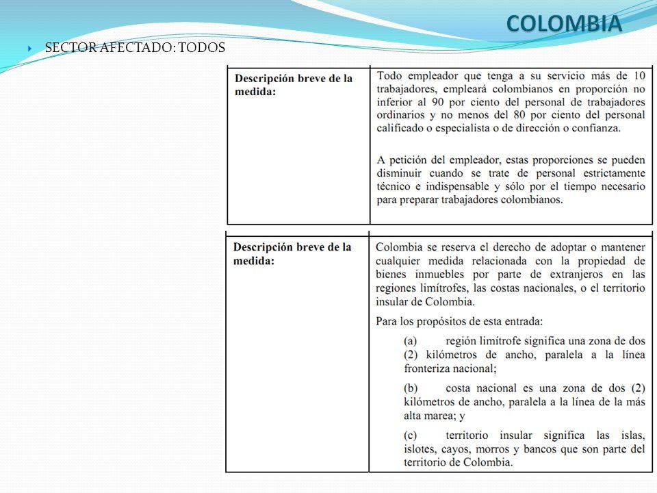 COLOMBIA SECTOR AFECTADO: TODOS