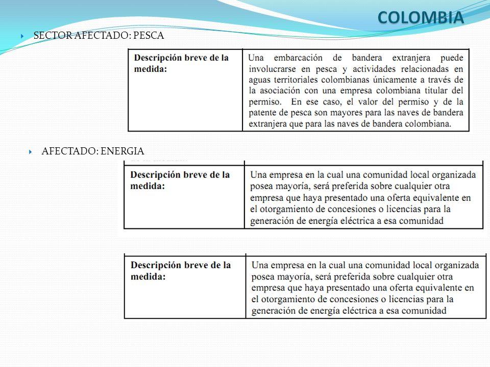 COLOMBIA SECTOR AFECTADO: PESCA AFECTADO: ENERGIA