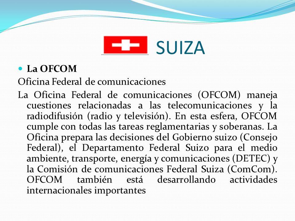 SUIZA La OFCOM Oficina Federal de comunicaciones