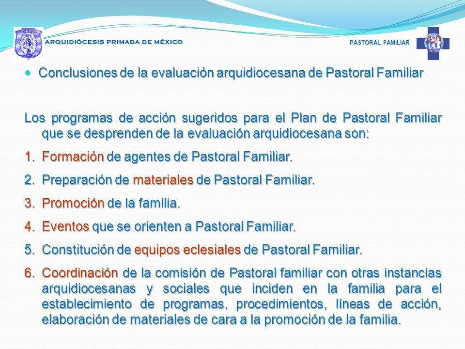 Conclusiones de la evaluación arquidiocesana de Pastoral Familiar