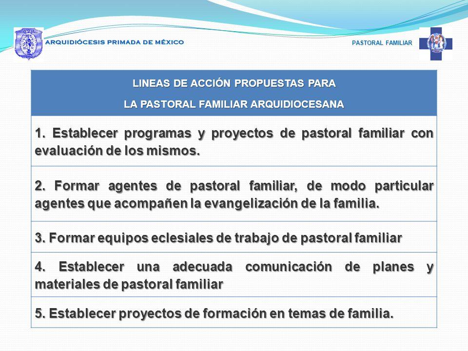 LINEAS DE ACCIÓN PROPUESTAS PARA LA PASTORAL FAMILIAR ARQUIDIOCESANA
