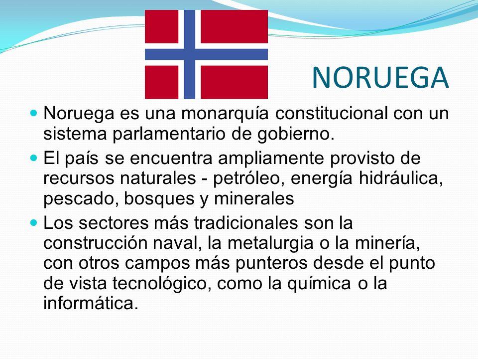 NORUEGA Noruega es una monarquía constitucional con un sistema parlamentario de gobierno.