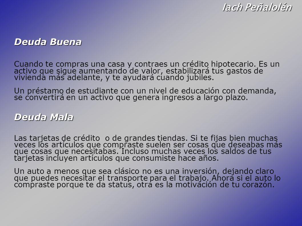 Iach Peñalolén Deuda Buena Deuda Mala