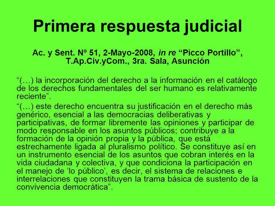 Primera respuesta judicial