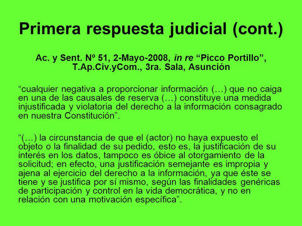 Primera respuesta judicial (cont.)
