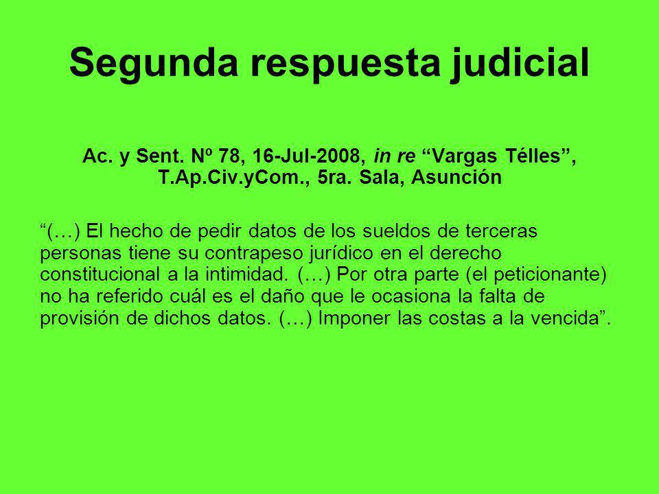 Segunda respuesta judicial