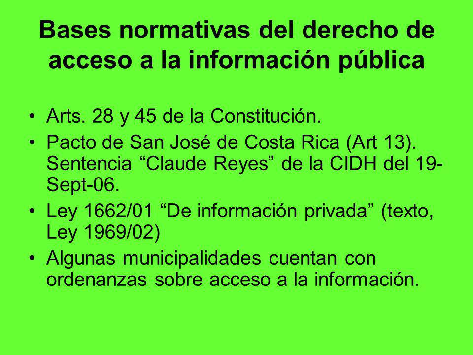 Bases normativas del derecho de acceso a la información pública